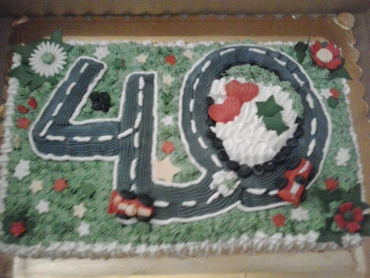 Super tarta 40 cumpleaños con Thermomix® . bizcocho genoves, crema pastelera de chocolate
