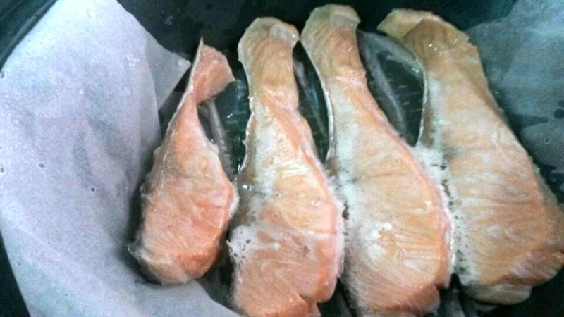 Salmon con patatas y salsa champiñon con Thermomix®