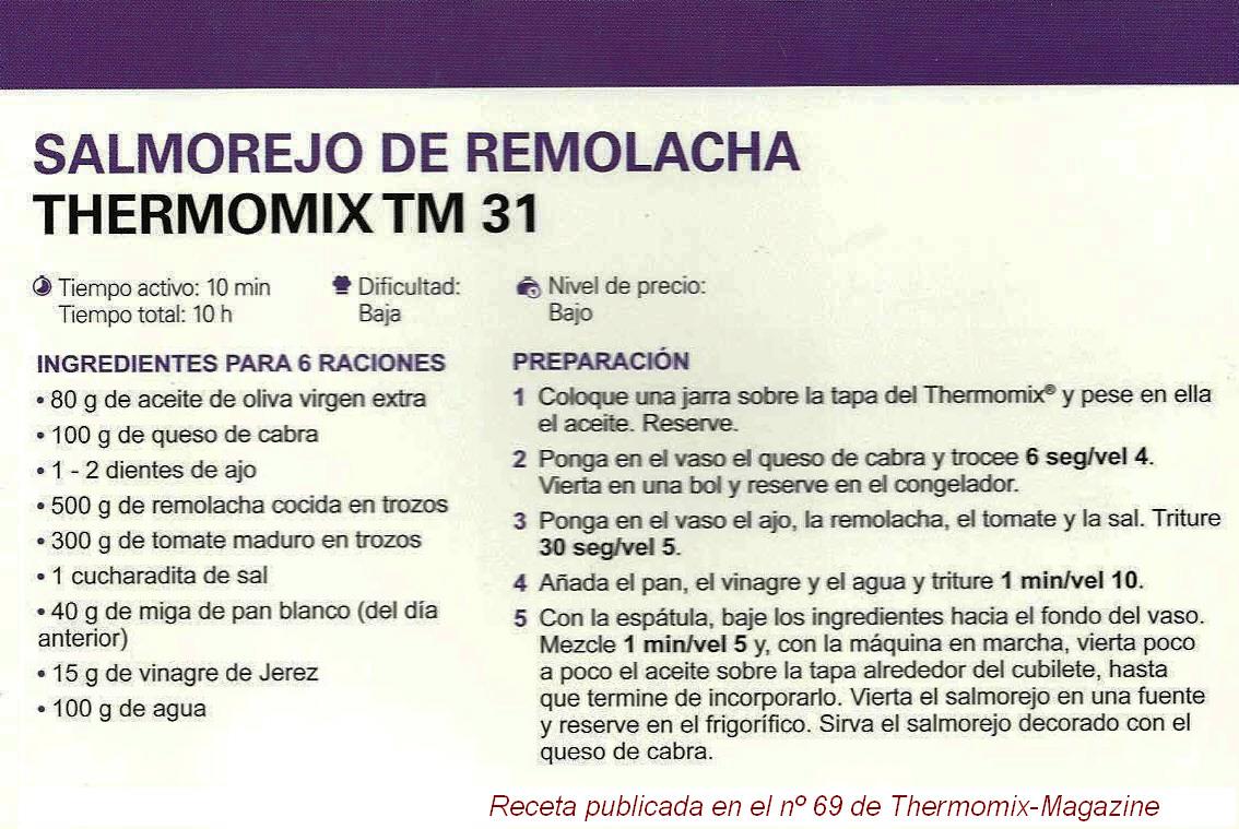 """RECETAS PARA EL VERANO CON Thermomix® : """"SALMOREJO DE REMOLACHA"""""""