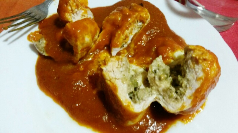 Rollo de pechuga pavo con salsa agrigulce con Thermomix®