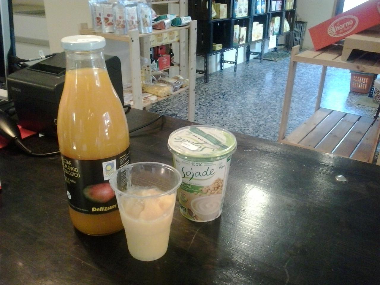 Helado de zumo de mango y Yogur de soja Taller ecologico