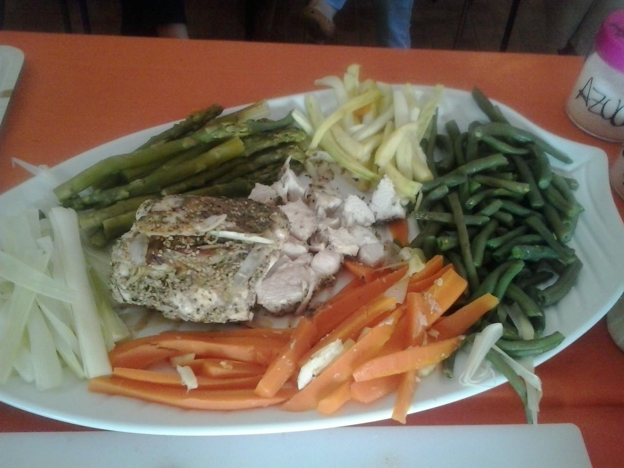 Papillote de pollo a la pimienta con verduras y caldo DIETA LIGERA con Thermomix®