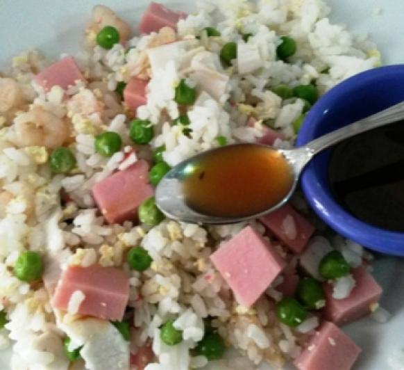 Arroz tres delicias, con salsa agridulce con Thermomix®