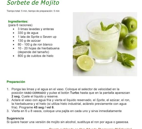 SORBETE DE MOJITO, A REFRESCARSE CON Thermomix®