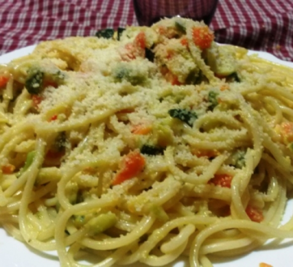Carbonara Vegetariana con yogurt y con Thermomix®
