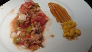 Ensalada de Tomate, atún, cebolla, oliva con Thermomix®